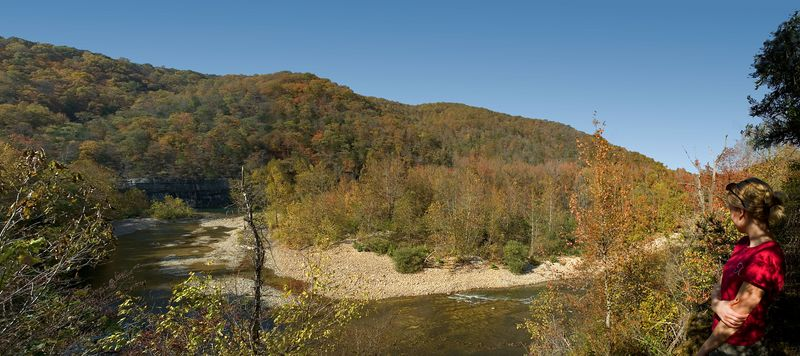 Panorama of 4 photos stitched together.  Trail along the Buffalo River.