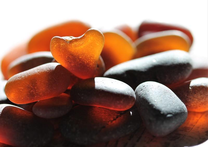 Cinnamon Mocha Brown Sea Glass Heart