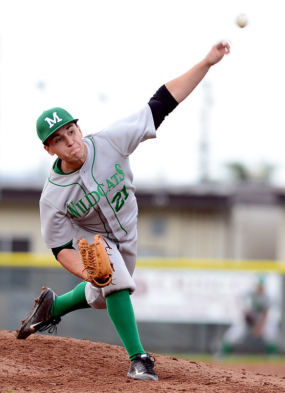 . Monrovia\'s Joe Mata (21) pitches to Temple City in the Arcadia Elks Tournament Thursday, March 7, 2013 at Temple City High School.  (SGVN/Staff Photo by Sarah Reingewirtz)