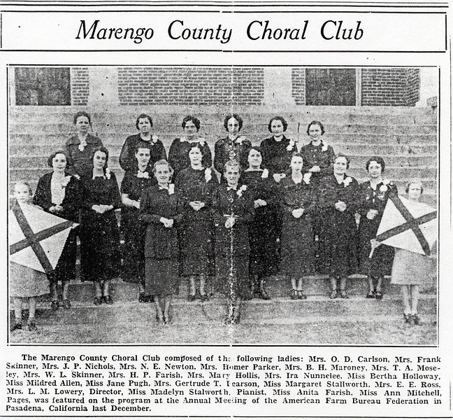 Marengo County Choral Club. Photo taken on Thomaston Baptist Church steps. Circa 1937.