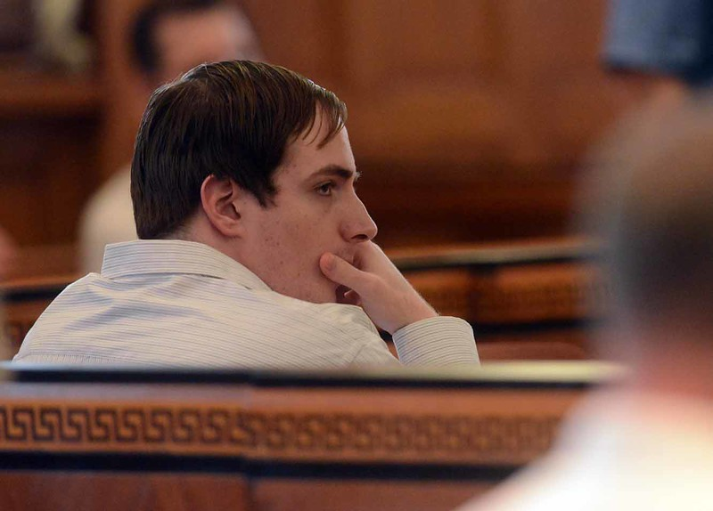 Tania Barricklo-Daily Freeman                      Murder suspect Seth Lyons looks over at potential jurors during the selection process Monday afternoon at hte Ulster County courth house..