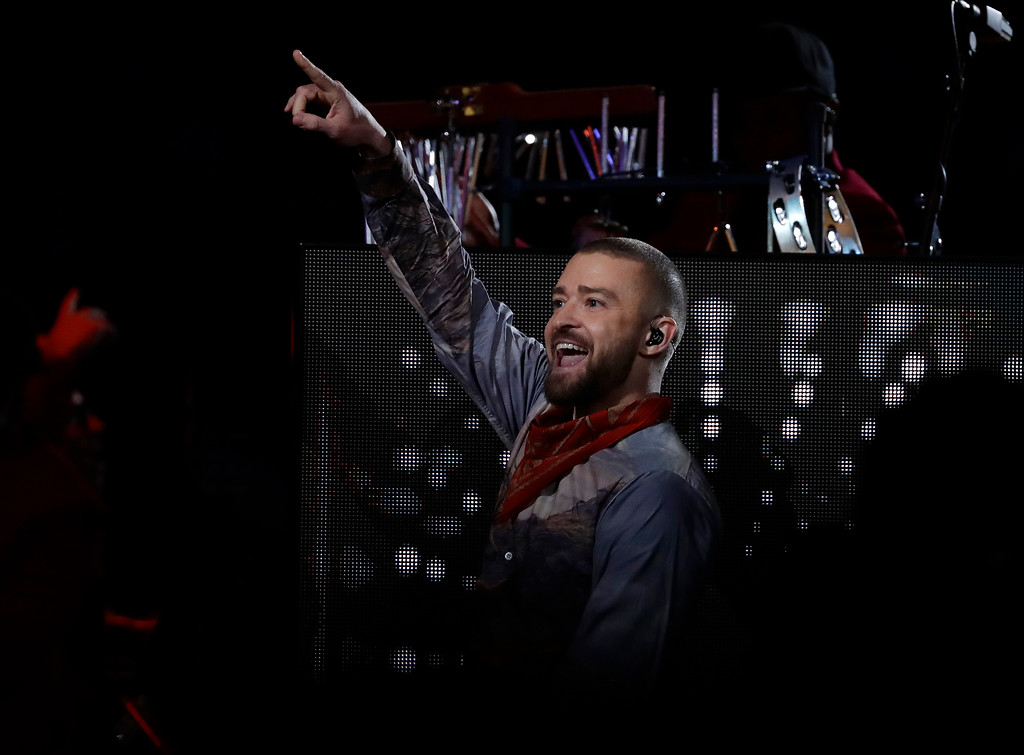 . Justin Timberlake performs during halftime of the NFL Super Bowl 52 football game between the Philadelphia Eagles and the New England Patriots Sunday, Feb. 4, 2018, in Minneapolis. (AP Photo/Frank Franklin II)