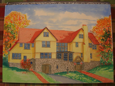 """""""Rockledge Lodge"""", 10x14  watercolor, September  2013"""