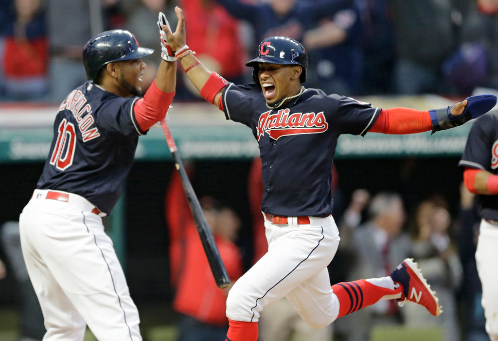 . The Cleveland Indians -- featuring Edwin Encarnacion, left, and Francisco Lindor -- are playing in the American League Division Series against the New York Yankees. Game 2 is 5:08 p.m. Oct. 6 at Progressive Field. If you\'re not heading downtown, you can watch the game on MLB Network, or listen on the radio on WTAM-AM 1100 or WMMS-FM 100.7. Game 3 will be at 7:30 p.m. Oct. 8 in New York, and fans can watch on FS1. For more information on the team, visit indians.com. (Associated Press file)