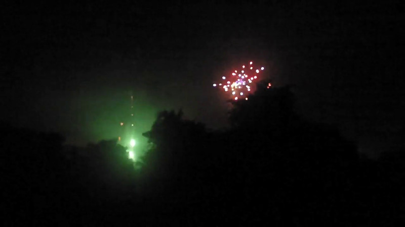 the view from neighbor's balcony a couple minutes before, right through the official new year.