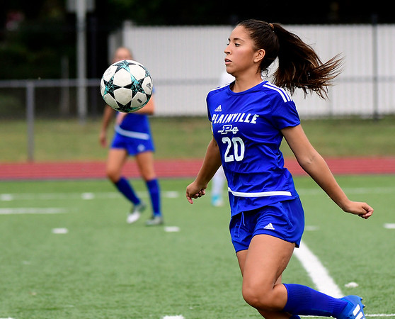 9/11/2018 Mike Orazzi | Staff Plainville's Ebelyn Rodriguez (20) during Tuesday's soccer at Plainville High School.