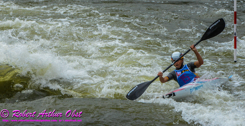 """""""Kayak Single WOMEN or K-1W Individual Bronze Medalist PFEIFER Melanie of Germany - FINAL Rank 3rd out of 52 K-1W competitors - during her FINAL run on 21 SEPT 2014 at the 2014 ICF 'Deep Creek 'World Championships at the Adventure Sports Center International site near Deep Creek Lake and McHenry MD USA"""" (USA MD McHenry; Obst FAV Photos Nikon D800 Adventures in Paddlesport Competition Images)"""