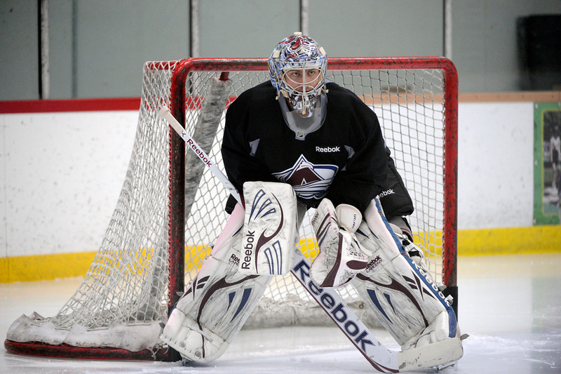 . Colorado Avalanche G Semyon Varlamov (1) waits for action during practice Wednesday, January 16, 2013 at Family Sports Center. John Leyba, The Denver Post