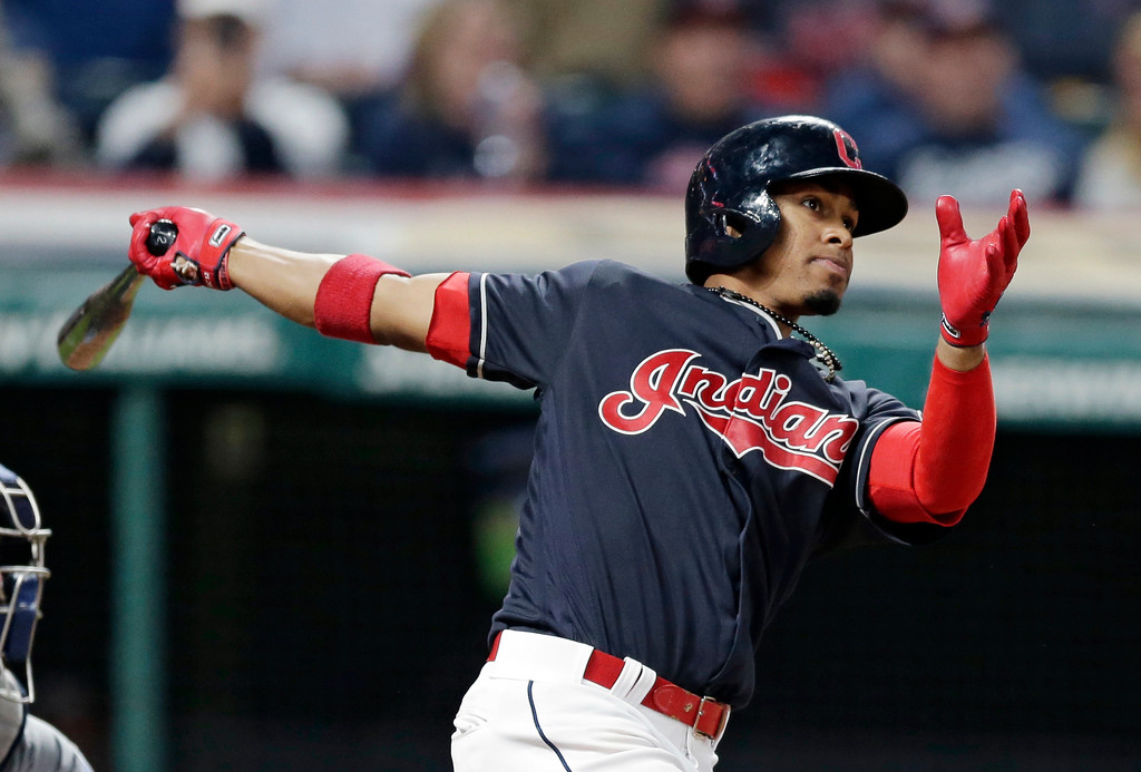 . Cleveland Indians\' Francisco Lindor watches his ball after hitting a solo home run off Tampa Bay Rays relief pitcher Jumbo Diaz in the eighth inning of a baseball game, Monday, May 15, 2017, in Cleveland. The Indians won 8-7. (AP Photo/Tony Dejak)