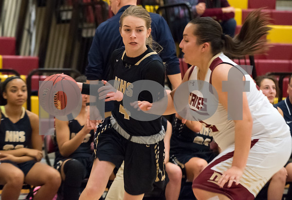 01/08/18 Wesley Bunnell | Staff New Britain basketball was defeated by Newington on Monday evening at New Britain High School. Lexi Harris (4).
