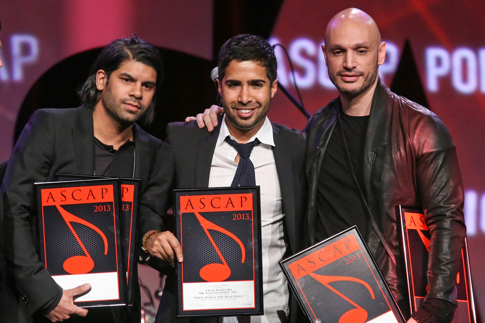 . Carl Falk, Savan Kotecha and Rami receive an award on stage during the 30th Annual ASCAP Pop Music Awards at Loews Hollywood Hotel on April 17, 2013 in Hollywood, California.  (Photo by Paul A. Hebert/Getty Images)