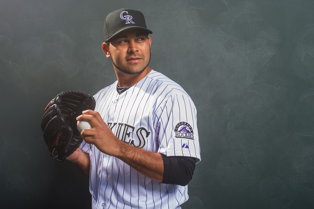 . Pedro Hernandez of the Colorado Rockies poses for a portrait during Photo Day at the Salt River Fields at Talking Stick on February 26, 2014 in Scottsdale, Arizona. (Photo by Rob Tringali/Getty Images)