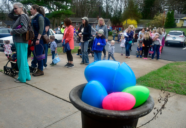 4/19/2019 Mike Orazzi | Staff Folks wait to get into the annual egg hunt at the Harry C Barnes Memorial Nature Center in Bristol on Friday morning.