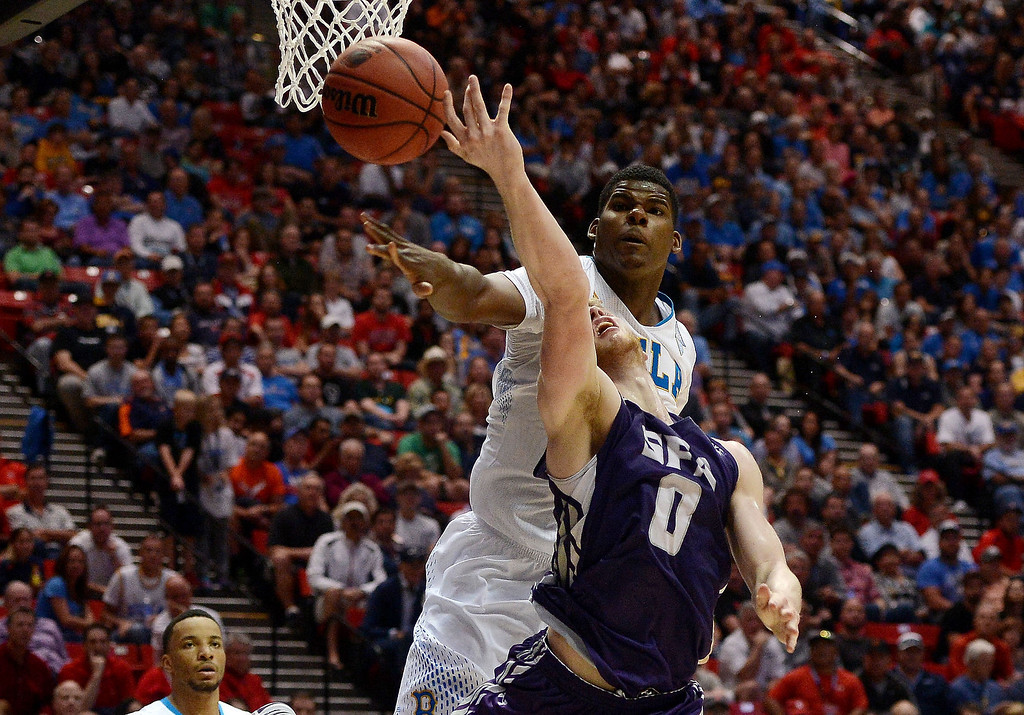. Tony Parker #23 of the UCLA Bruins blocks a shot by Thomas Walkup #0 of the Stephen F. Austin Lumberjacks inthe second half during the third round of the 2014 NCAA Men\'s Basketball Tournament at Viejas Arena on March 23, 2014 in San Diego, California.  (Photo by Donald Miralle/Getty Images)
