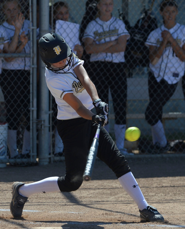 . Home Run - Peninsula\'s Brooke Christensen (5) begins the scoring with this home run hit in the first inning against Arroyo Grande in a CIF Southern Section Division III wild-card softball game in Rolling Hills Estates Tuesday. Peninsula won the game 13-0. 20130514 Photo by Steve McCrank / Staff Photographer