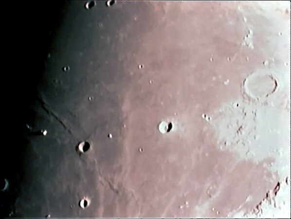 This photo of Mare Imbrium, Mare Dorsum zirkel, Mons La Hire and crater Plato was taken on 12/29/06 with a meade etx 125 and a sac 7 ccd.