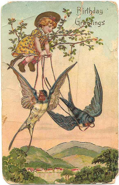 1910 - Birthday Post Card from Stella's namesake Grandma (front)