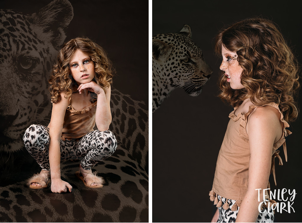 Playful, colorful studio kids editorial with kids mimicking animals and double exposures featured on Babiekins Magazine blog by Tenley Clark Photography. Styling: Jeneffer Jones. HMUA: Amy Lawson. Model: Grace. Cheetah look.