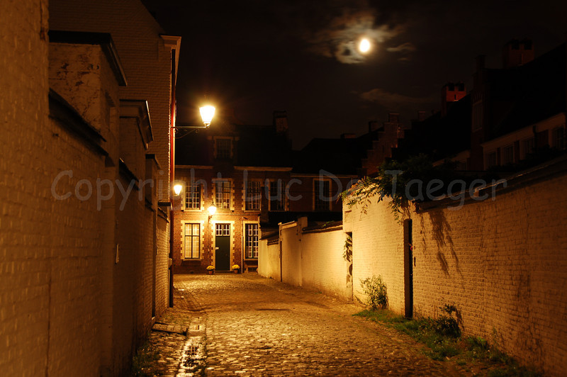 Night image of the Our Lady Ter Hoyen beguinage, one of the three beguinages in Ghent. This beguinage is situated in the centre of the city and is an area of tranquile rest and peace near busy streets. The First Quarter Moon is shining through the clouds.