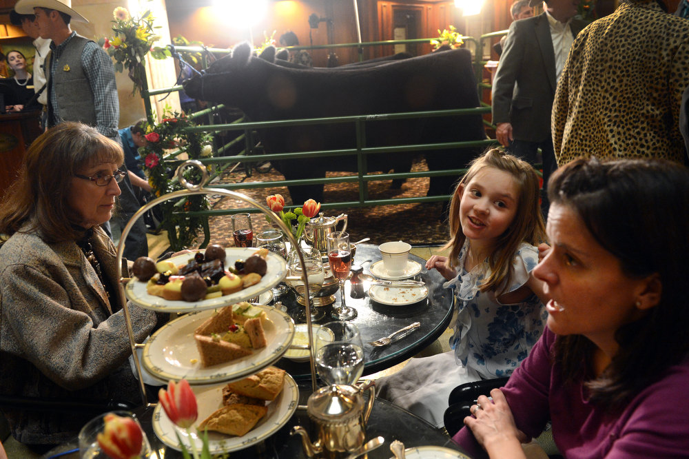 . DENVER, CO. - JANUARY 25: Tara Lynn, right, and her daughter, Maya, 8, enjoys tea with Lynn\'s mother-in-law, Debbie Lynn, while the National Western Stock Show\'s Grand Champion and Reserve Steers were being shown at the Brown Palace Hotel & Spa in Denver, CO, January, 25, 2013. The Grand Champion ,Trevor, weighing in at 1335 lbs. was raised by Shilo Schaake, of Westmoreland, KS. The Reserve Grand Champion, Nick, 1275 lbs, was shown by Jessica Webster of Runnells, IA. The skittish champions were also joined by a third steer, Willie, raised by Lauren May, of Mineral Point, WI, for moral support. (Photo By Craig F. Walker / The Denver Post)