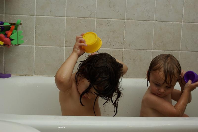 Washing hair.