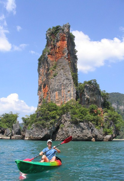 Paddling past a tower island
