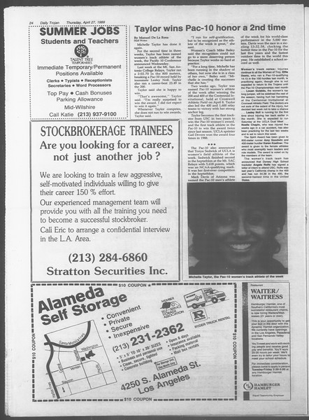 Daily Trojan, Vol. 108, No. 67, April 27, 1989