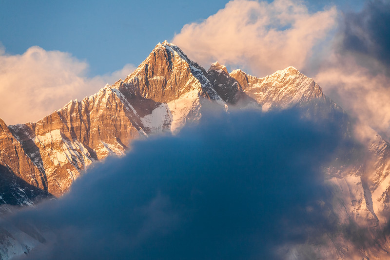 View of Mount Everest with cloud in foreground - Nepal - Solukhumbu District