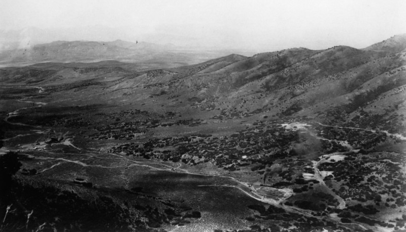 Salt Lake & Mercur line in Manning Canyon, looking south (Manning at photo left).
