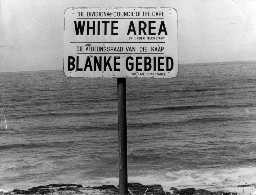 . An apartheid notice on a beach near Capetown, denoting the area for whites only July 22, 1976.   (Photo by Keystone/Getty Images)