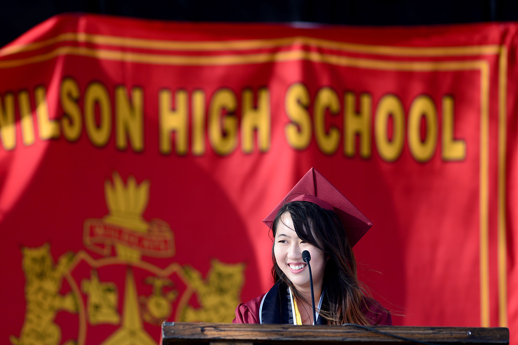. Fiona Xin gives the salutatorian address during Wilson High School\'s forty-seventh commencement ceremony Tuesday evening, May 20, 2014 at the Hacienda Heights school. (Photo by Sarah Reingewirtz/Pasadena Star-News)