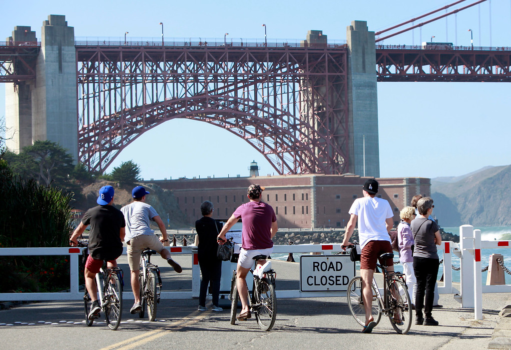 . The road to Fort Point was closed in San Francisco, Calif., on Tuesday, Oct. 1, 2013, as a result of the partial federal government shutdown. (Karl Mondon/Bay Area News Group)