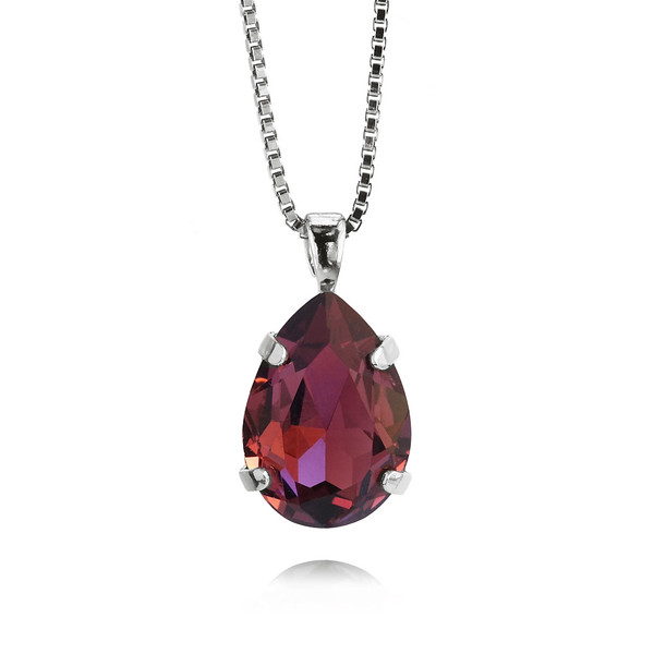 Mini Drop Necklace / Burgundy / Rhodium