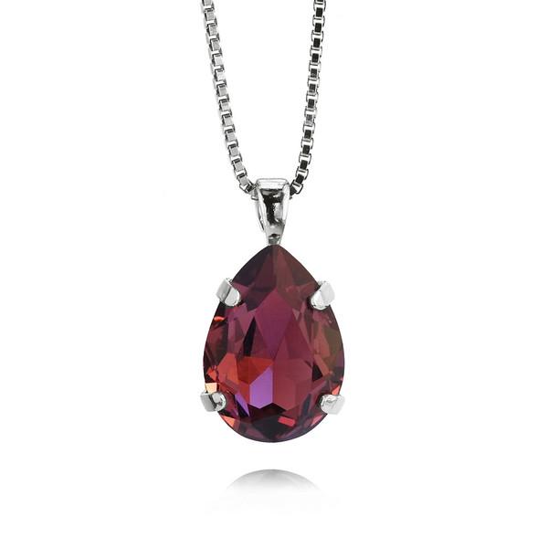 Mini Drop Necklace / Burgundy / Rhodium
