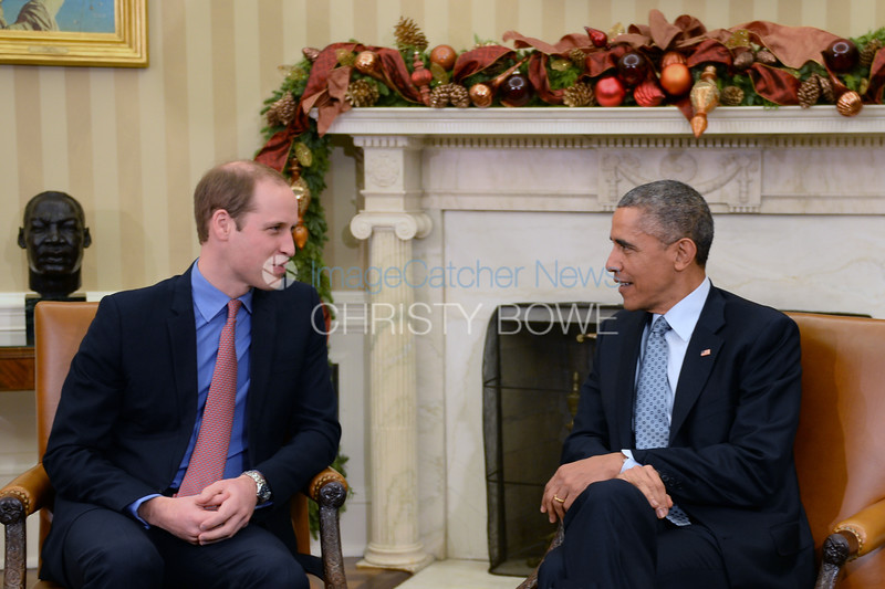 President Barack Obama welcomes Prince William, the Duke of Cambridge, for a meeting in the Oval Office,