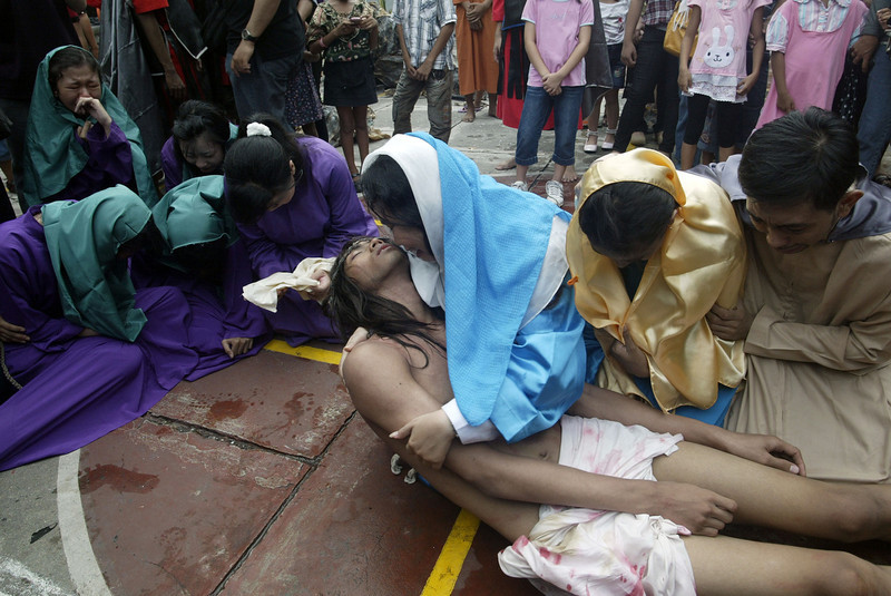 . Indonesian Christian devotees re-enact the crucifixion of Jesus Christ during a Good Friday mass at the church compound in Surabaya in eastern Java island on March 29, 2013 as minority Christians mark Easter amid the rising cases religious intolerance. Local officials in Bekasi ordered congregation to halt service leaving Christian devotees with nowhere to pray this Easter while on March 21, 2013 authorities demolished a church due to lack of permit. Indonesia\'s 240 million people identify themselves as Muslim but the constitution guarantees freedom of religion. Rights group said the government has shown no political will to stop cases of intolerance.  JUNI KRISWANTO/AFP/Getty Images