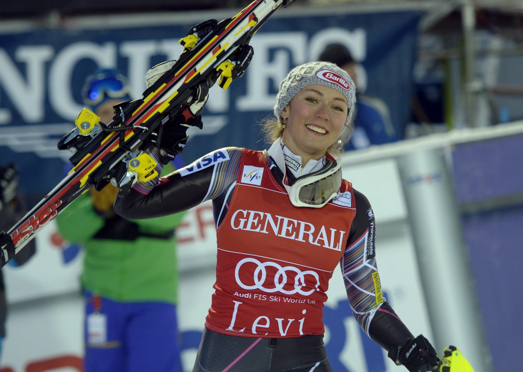 . US Mikaela Shiffrin celebrates after the slalom women\'s FIS Alpine Ski World Cup in Levi, Finland, on November 16, 2013. Shiffrin won ahead of Germany\'s Maria Hoefl-Riesch and Slovenia\'s Tina Maze. AFP PHOTO /Lehtikuva/ MARKKU ULANDER/AFP/Getty Images