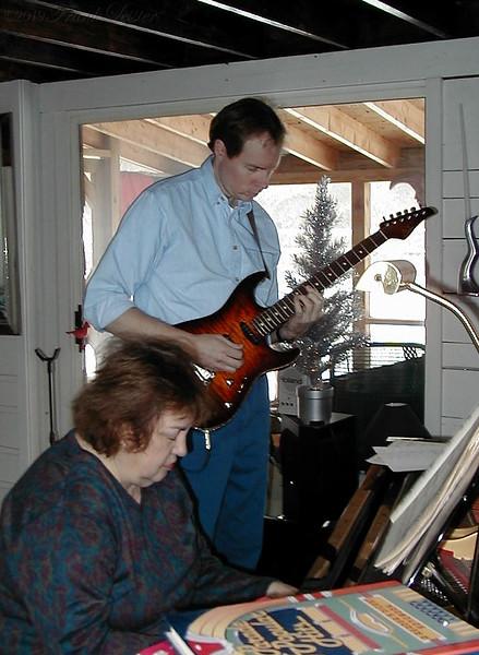 FL and Shirley Lebin, jamming at the Lebin house, Dec 10 2000.