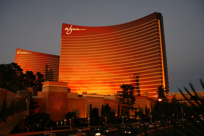 The Wynn and Encore Hotels in Las Vegas, NV at sunset.