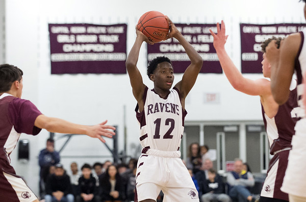 Innovation boys basketball was defeated by Bristol Central at home Wednesday January 15, 2019. Innovation's Michael Blackman (12). Wesley Bunnell | Staff
