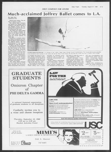 Daily Trojan, Vol. 92, No. 1, August 31, 1982
