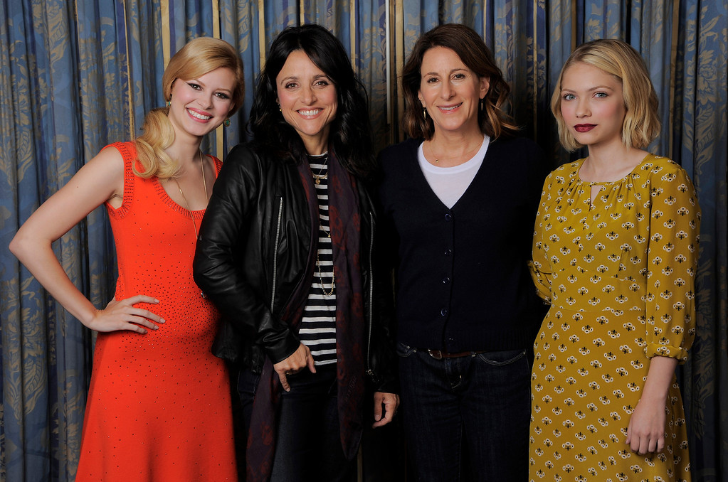 """. Writer-director Nicole Holofcener, second right,  of the film \""""Enough Said,\"""" poses with cast members, from left, Tracey Fairaway, Julia Louis-Dreyfus and Tavi Gevinson on day 4 of the 2013 Toronto International Film Festival on Sunday, Sept. 8, 2013 in Toronto. (Photo by Chris Pizzello/Invision/AP)"""
