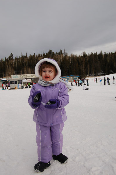 Ainsley went to kiddie ski school, and claims she had a great time skiing.