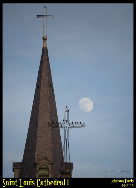 Saint Louis Cathedral 1  The moon and the spire of the Saint Louis Cathedral.  New Orleans, 12 July 2011