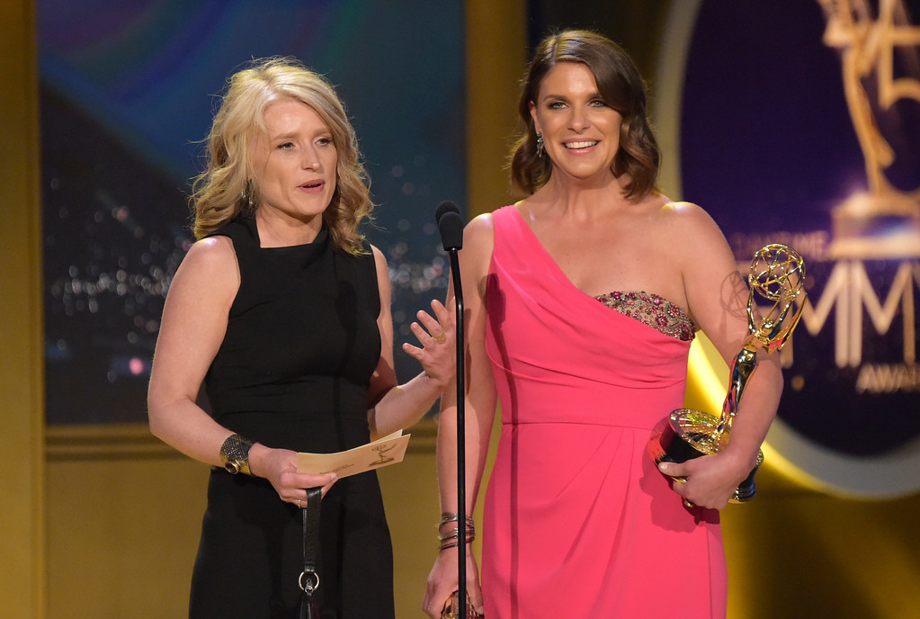 ". Cynthia Hill, left, and Vivian Howard accept the award for outstanding culinary program for ""A Chef\'s Life\"" at the 45th annual Daytime Emmy Awards at the Pasadena Civic Center on Sunday, April 29, 2018, in Pasadena, Calif. (Photo by Richard Shotwell/Invision/AP)"