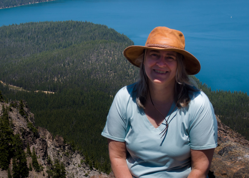 Barb on Pailina Peak overlooking Newberry Caldera