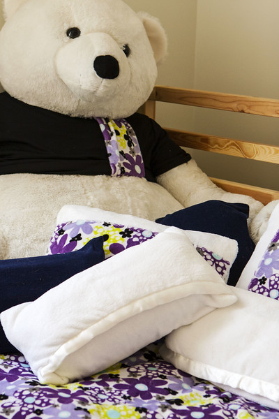 Burr the Polar Bear with Pillowcases made from old Baby Blankets