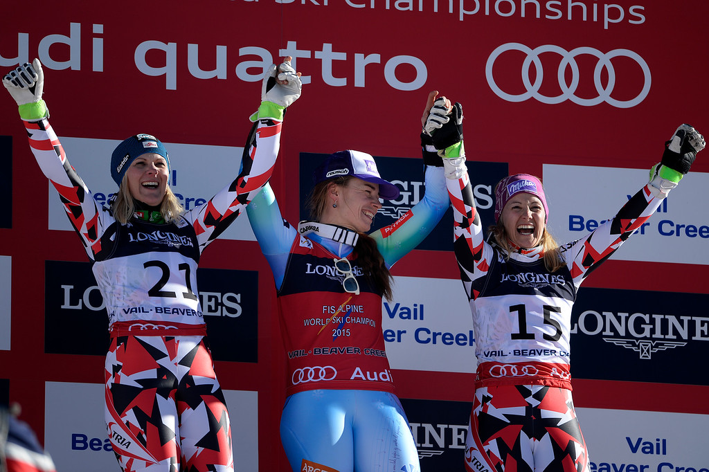 . BEAVER CREEK, CO - FEBRUARY 09: Tina Maze (1st, center) celebrates with Austria\'s Nicole Hosp (2nd, left) and Michaela Kirchgasser (3rd, right) during the ladies\' alpine combined final. FIS Alpine World Ski Championships 2015 on Monday, February 9, 2015. (Photo by AAron Ontiveroz/The Denver Post)