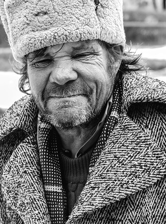 Man on the street.  Sighisoara, Romania -2005