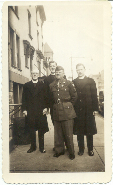 1943, April: Brother Brendan, Brother Timothy, Brother Henry (Cuddy), George Patrick Frost.  479 Lafayette, Brooklyn.